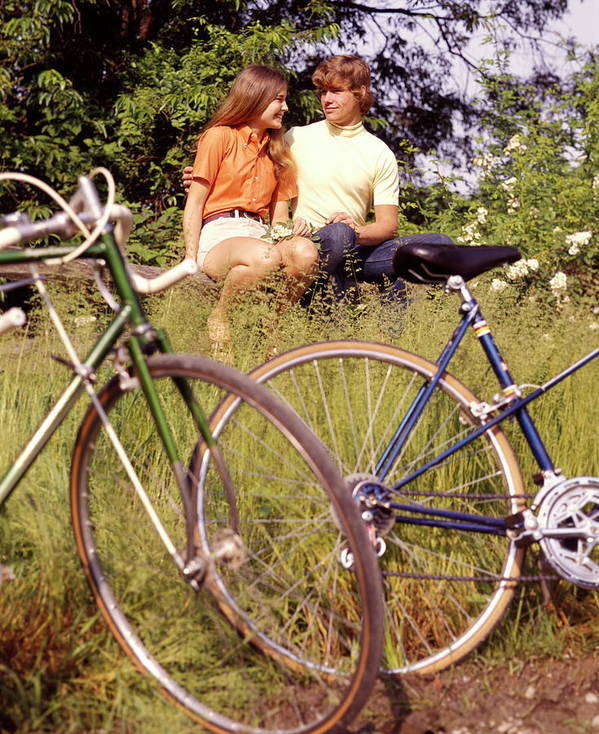 Heterosexual Couple Art Print featuring the photograph Young Adults Teenagers Field Date Bikes by H. Armstrong Roberts