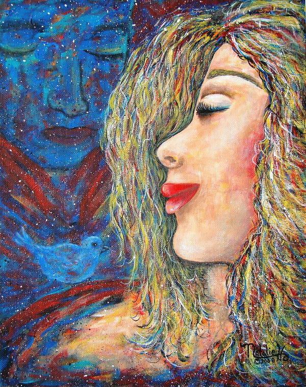 Man Art Print featuring the painting Blue Bird Blue Bird by Natalie Holland