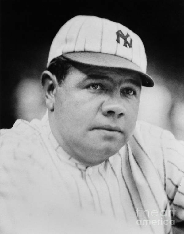 People Art Print featuring the photograph Babe Ruth by Mlb Photos