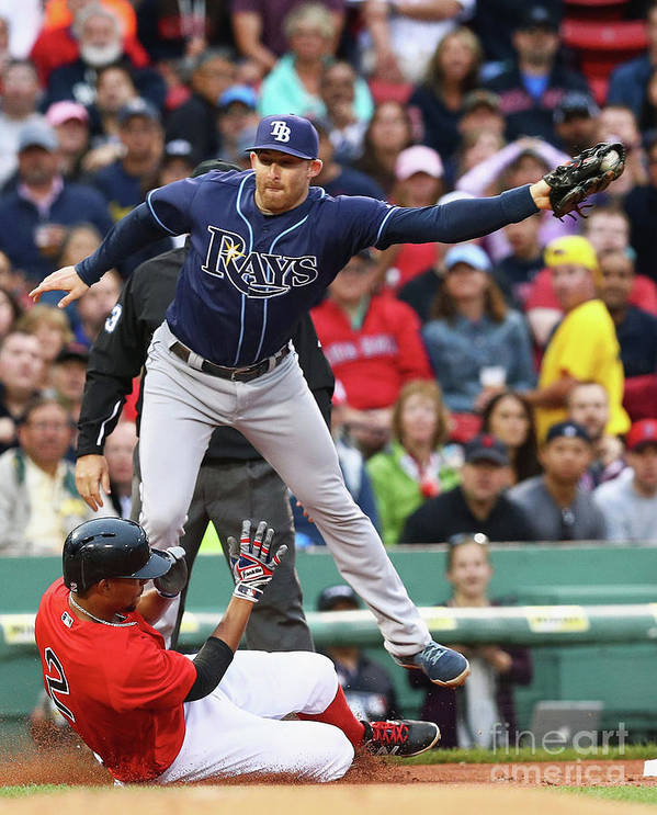 People Art Print featuring the photograph Evan Longoria and Xander Bogaerts by Maddie Meyer