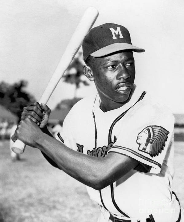 1950-1959 Art Print featuring the photograph Hank Aaron by National Baseball Hall Of Fame Library