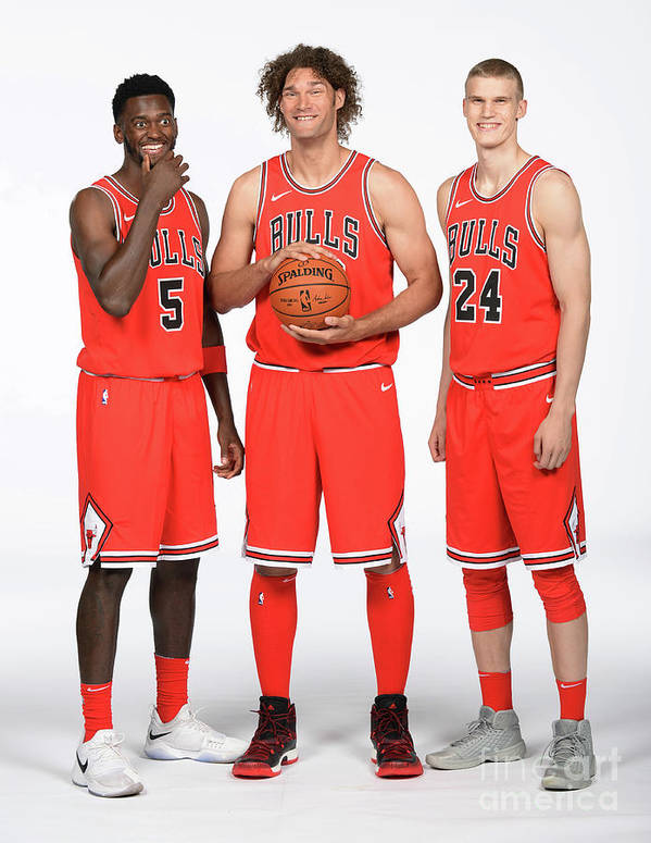 Media Day Art Print featuring the photograph Lauri Markkanen, Bobby Portis, and Robin Lopez by Randy Belice