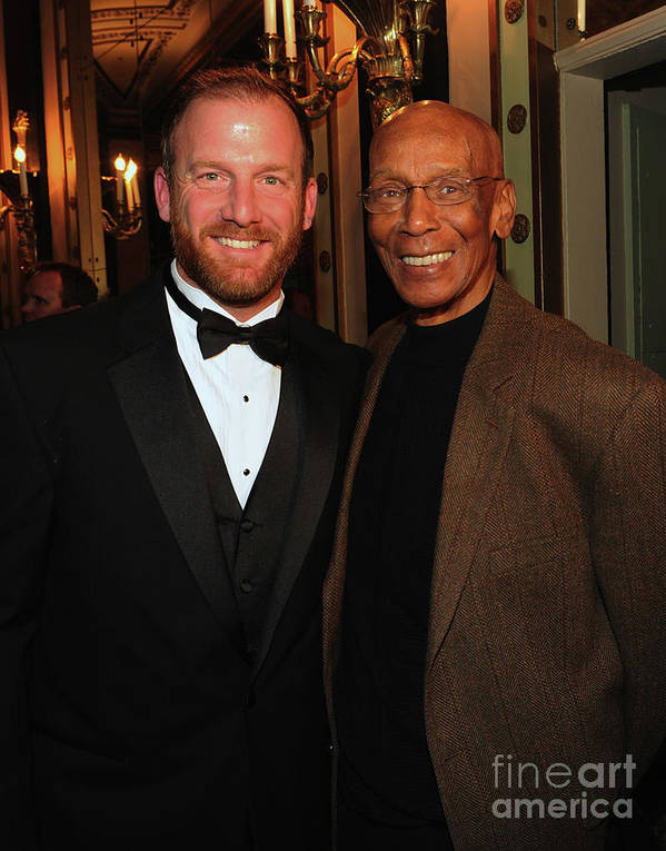 Ryan Dempster Art Print featuring the photograph Ryan Dempster and Ernie Banks by Rick Diamond