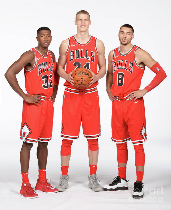Media Day Art Print featuring the photograph Zach Lavine, Kris Dunn, and Lauri Markkanen by Randy Belice