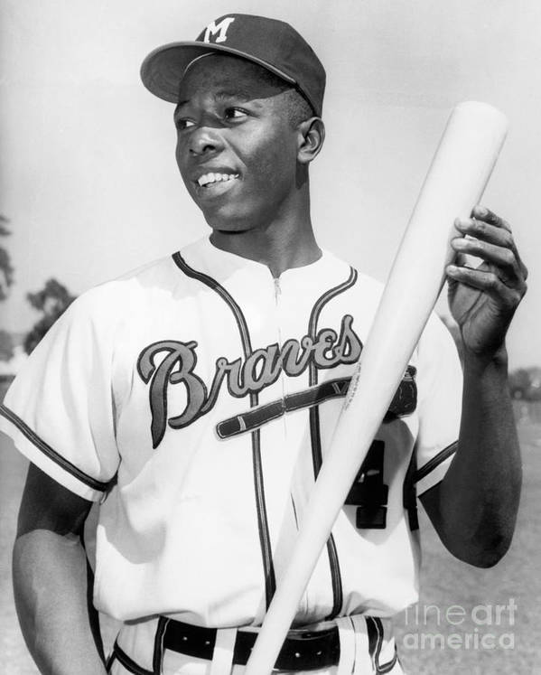 People Art Print featuring the photograph Hank Aaron by National Baseball Hall Of Fame Library