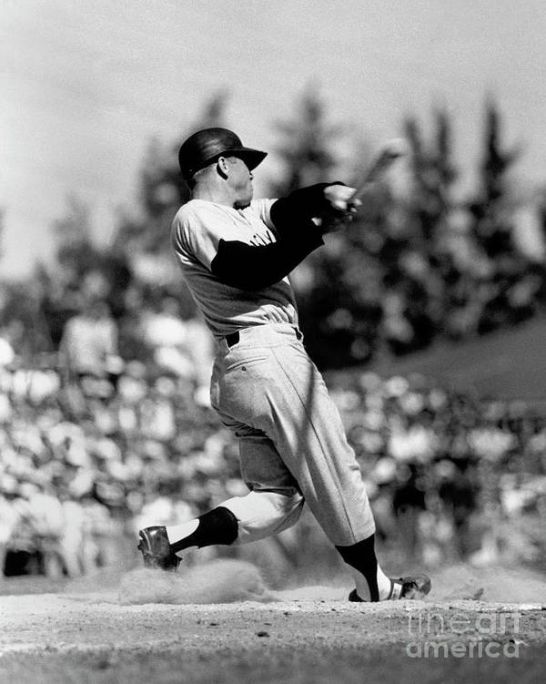 American League Baseball Art Print featuring the photograph Mickey Mantle by National Baseball Hall Of Fame Library