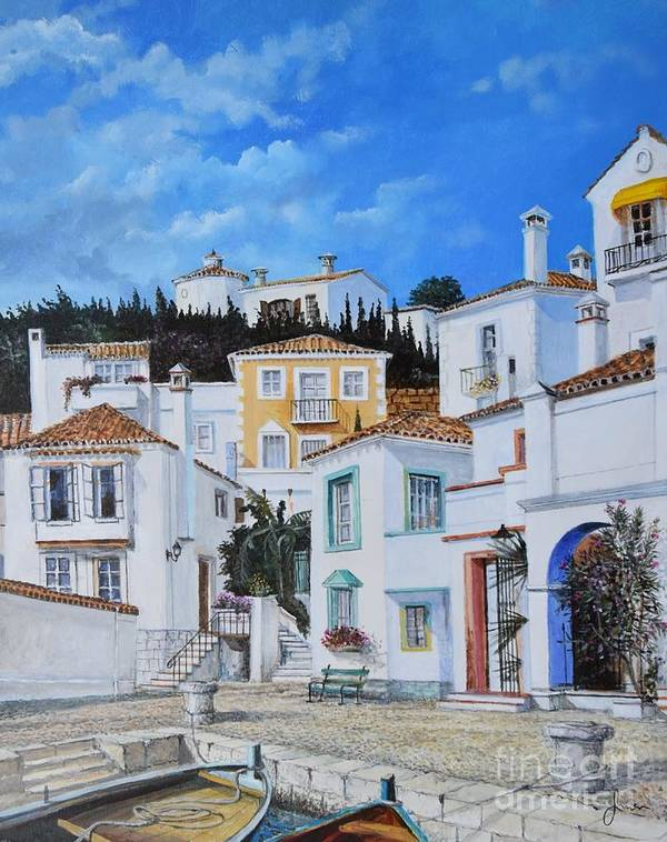 City Art Print featuring the painting Afternoon Light In Montenegro by Sinisa Saratlic