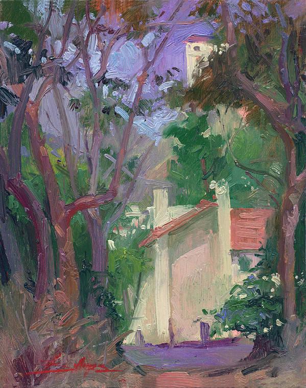 Pleinair Painting Art Print featuring the painting At Jourey's End Plein Air by Betty Jean Billups