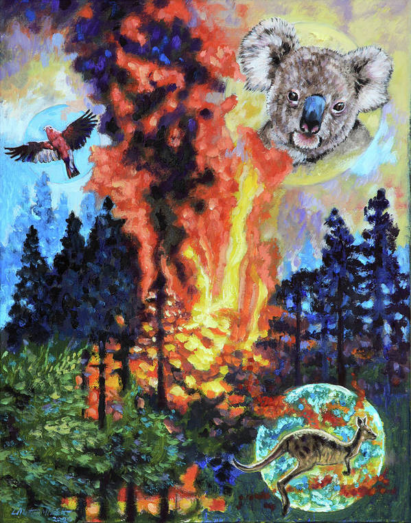 Fire Art Print featuring the painting Australia's on Fire by John Lautermilch