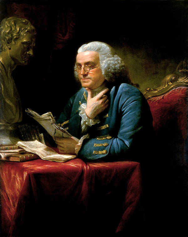 Benjamin Franklin Art Print featuring the painting Ben Franklin by War Is Hell Store
