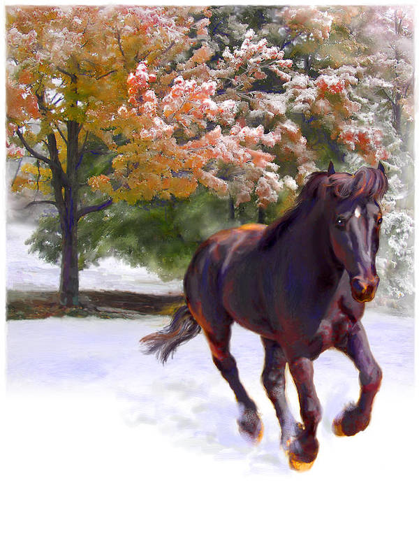 Horse Art Print featuring the painting Black Stallion In Fall Snow Fantasy Art by Connie Moses