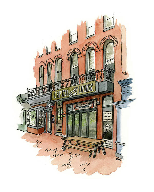 Capitol Art Print featuring the painting Capitol Lounge DC by Erin Thompson Studio
