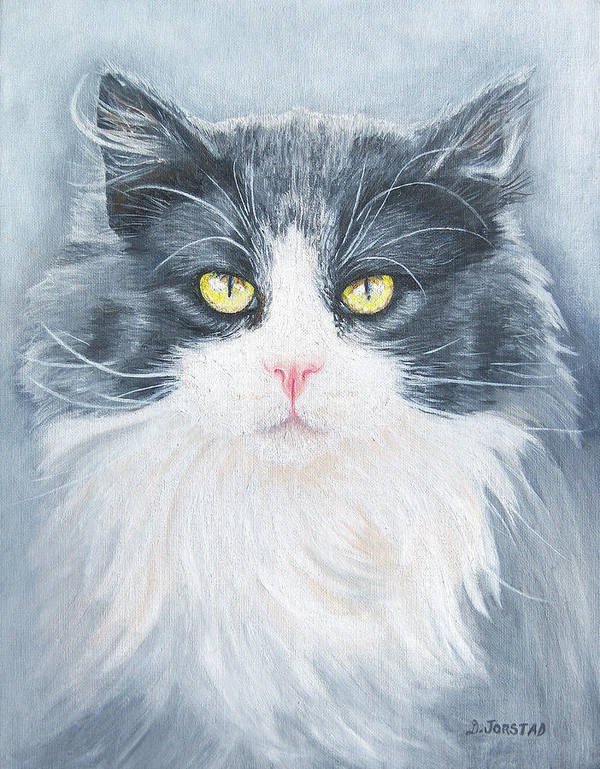 Pet Portrait Artist Art Print featuring the painting Cat Print Pet Portrait Artist For Hire Commission by Diane Jorstad