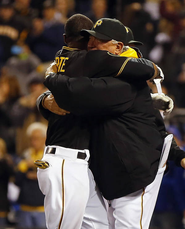 Ninth Inning Art Print featuring the photograph Clint Hurdle and Starling Marte by Matt Sullivan