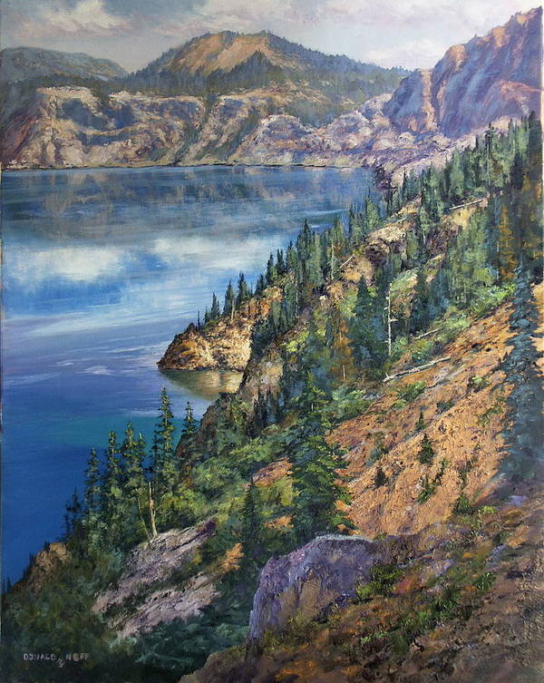 Crater Lake Oregon Art Print featuring the painting Crater Lake Overlook by Donald Neff