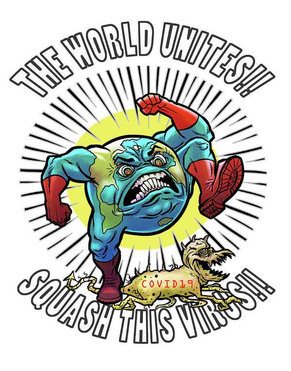 Earth Vs Virus Art Print featuring the digital art Earth vs Virus by Jonathan Buhl