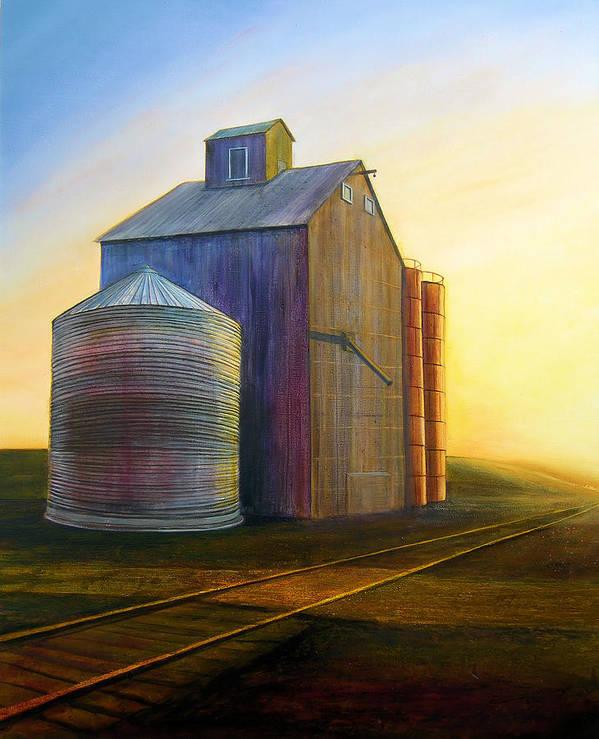 Silos Art Print featuring the painting Estes Road Twilight by Leonard Heid