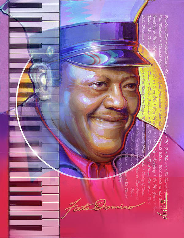 Fats Art Print featuring the mixed media A Portrait of Fats Domino by Tim Neil
