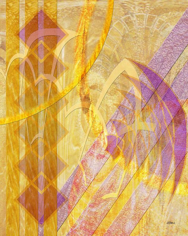 Gold Fusion Art Print featuring the digital art Gold Fusion by John Robert Beck