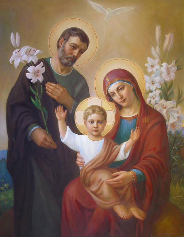 Jesus Art Print featuring the painting Holy Family by Svitozar Nenyuk