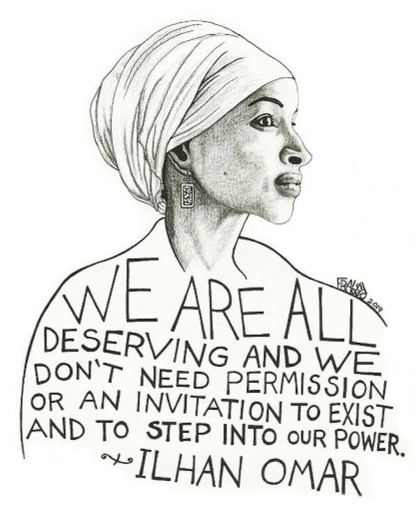 Pen And Ink Illustration Art Print featuring the drawing Ilhan Omar Drawing by Rick Frausto