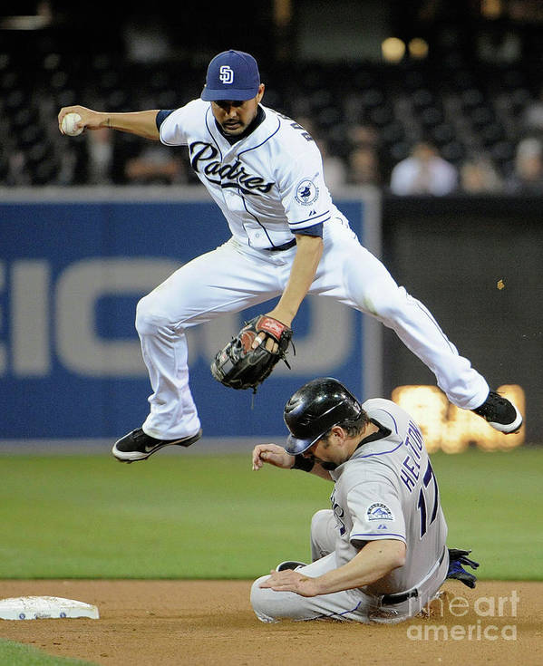 Double Play Art Print featuring the photograph Jason Bartlett and Todd Helton by Denis Poroy