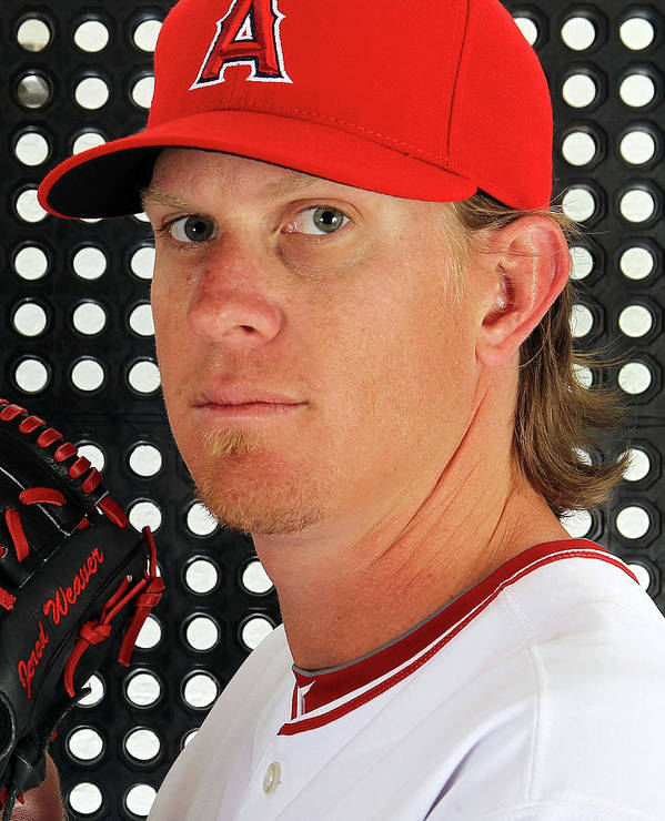 Media Day Art Print featuring the photograph Jered Weaver by Jamie Squire