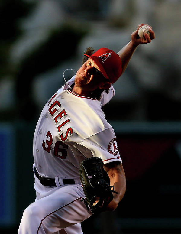 American League Baseball Art Print featuring the photograph Jered Weaver by Stephen Dunn