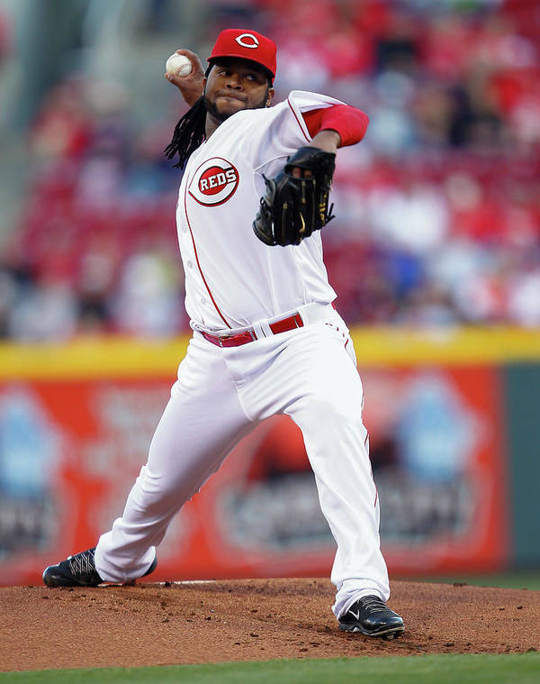 Great American Ball Park Art Print featuring the photograph Johnny Cueto by Michael Hickey