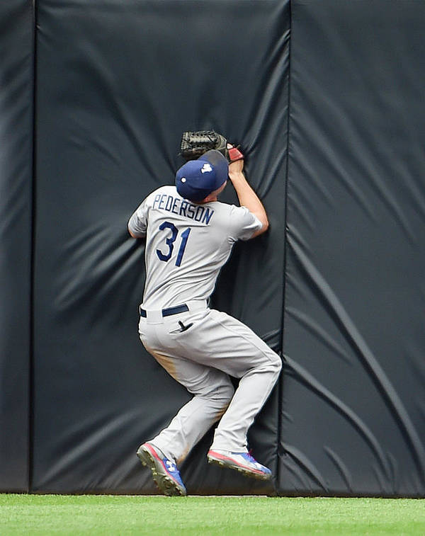 Ninth Inning Art Print featuring the photograph Justin Upton and Joc Pederson by Denis Poroy