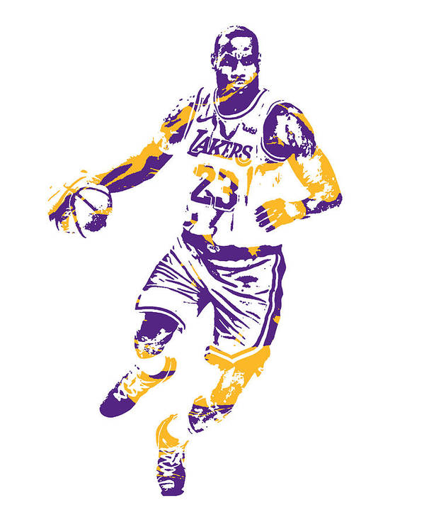 Lebron James Los Angeles Lakers Pixel Art 3 Art Print By Joe Hamilton
