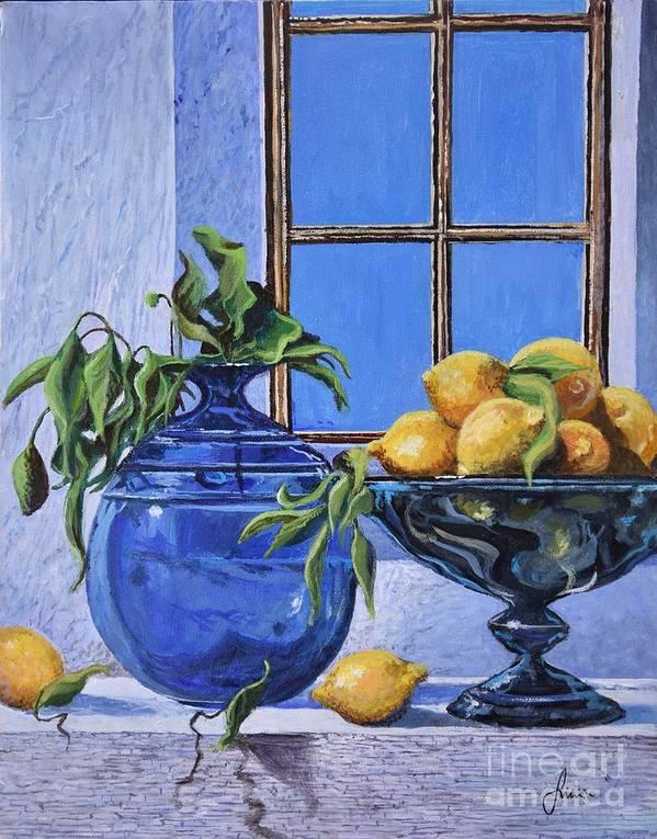 Original Painting Art Print featuring the painting Lemons by Sinisa Saratlic