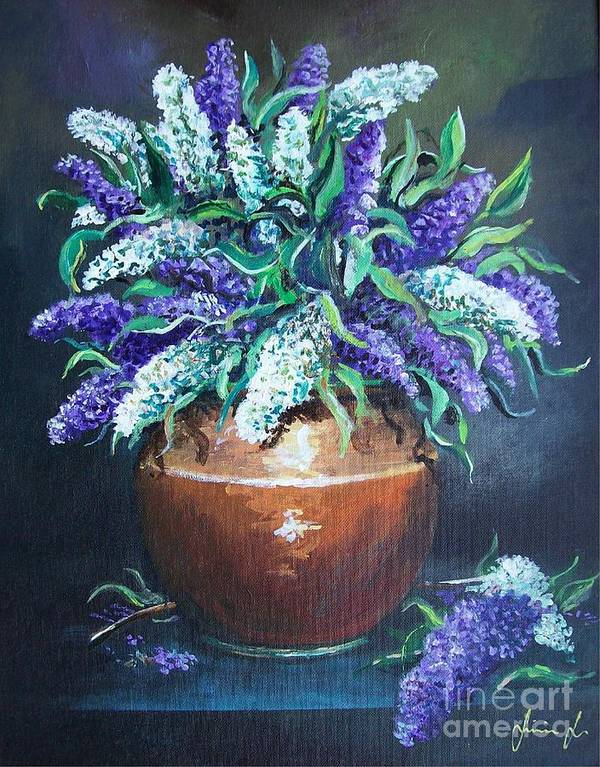 Original Painting Art Print featuring the painting Lilac by Sinisa Saratlic
