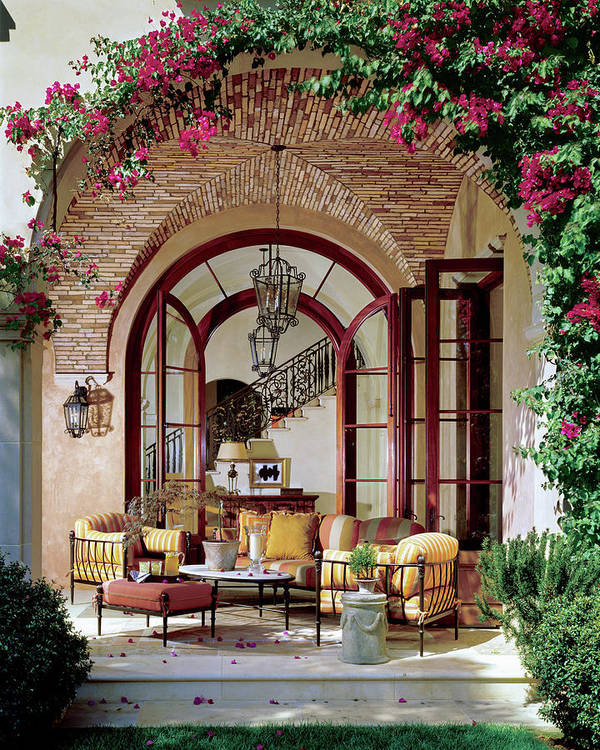 Architecture Art Print featuring the photograph Loggia of a Tuscan-style House by Mary E Nichols