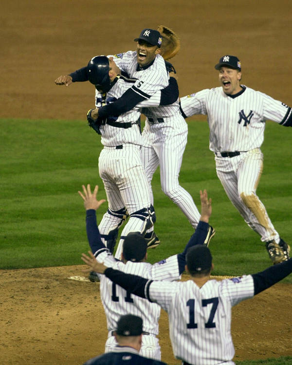 Baseball Catcher Art Print featuring the photograph Mariano Rivera, Scott Brosius, and Jorge Posada by New York Daily News Archive