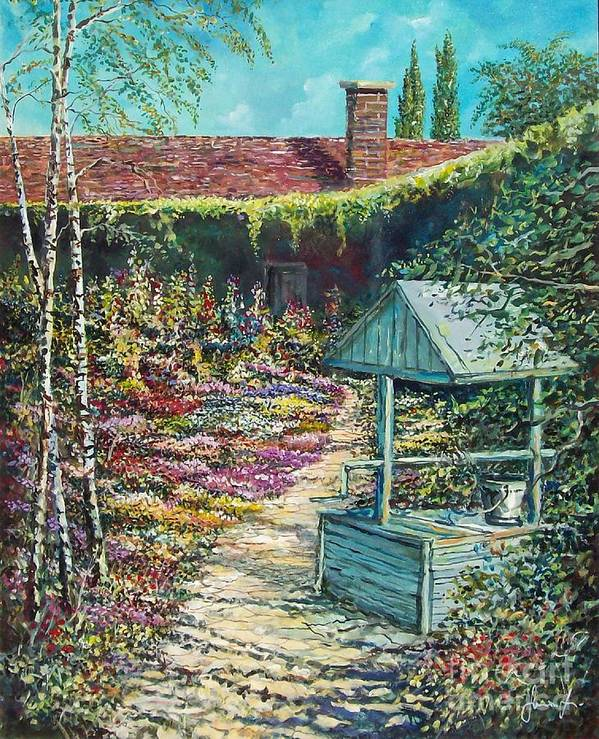 Garden Art Print featuring the painting Mary's Garden by Sinisa Saratlic