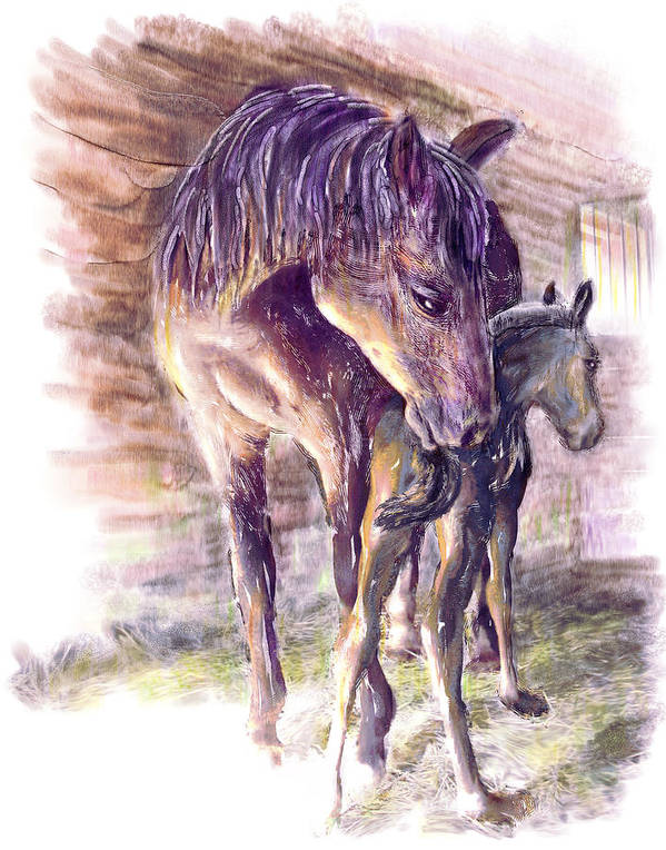 Horse Art Print featuring the painting Maternal Bond Five Hours Old Arabian Mare With Newborn Foal by Connie Moses