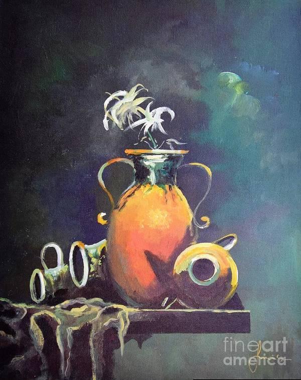Still Life Art Print featuring the painting Midnight Moon by Sinisa Saratlic