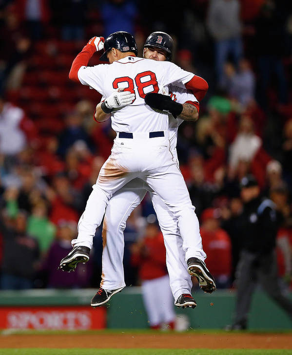 American League Baseball Art Print featuring the photograph Mike Napoli And Grady Sizemore by Jared Wickerham
