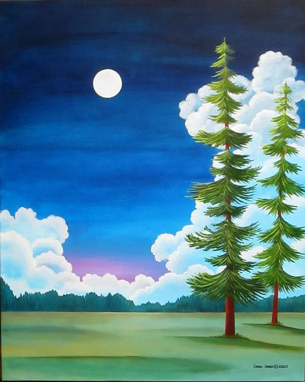 Moon Art Print featuring the painting Moonshine and Still Standing by Carol Sabo