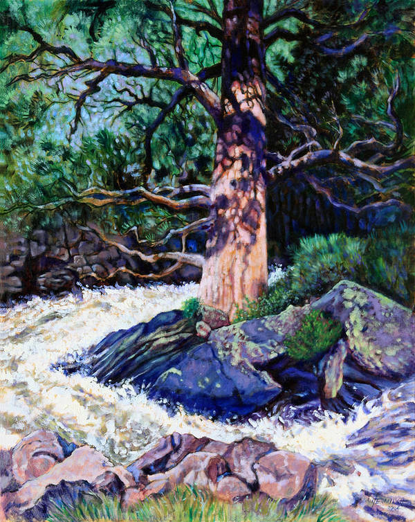 Old Pine Art Print featuring the painting Old Pine In Rushing Stream by John Lautermilch