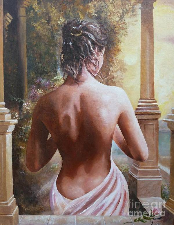 Female Figure Art Print featuring the painting On The Doorway by Sinisa Saratlic
