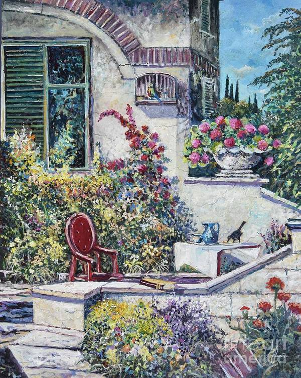 Original Painting Art Print featuring the painting On The Porch by Sinisa Saratlic