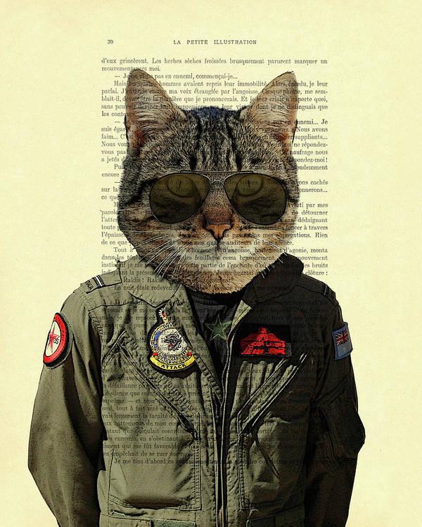 Cat Art Print featuring the digital art Pilot cat portrait on antique book page by Madame Memento