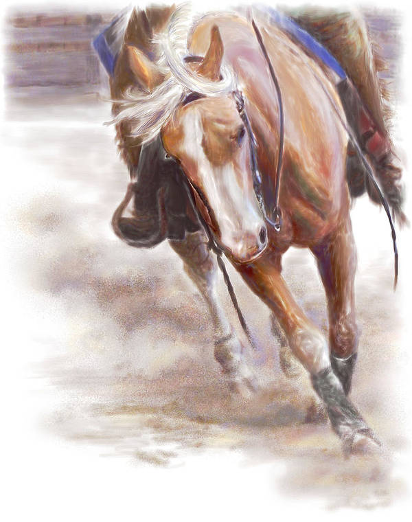 Horse Art Print featuring the painting Reiner's Grace- Western Reining Horse by Connie Moses