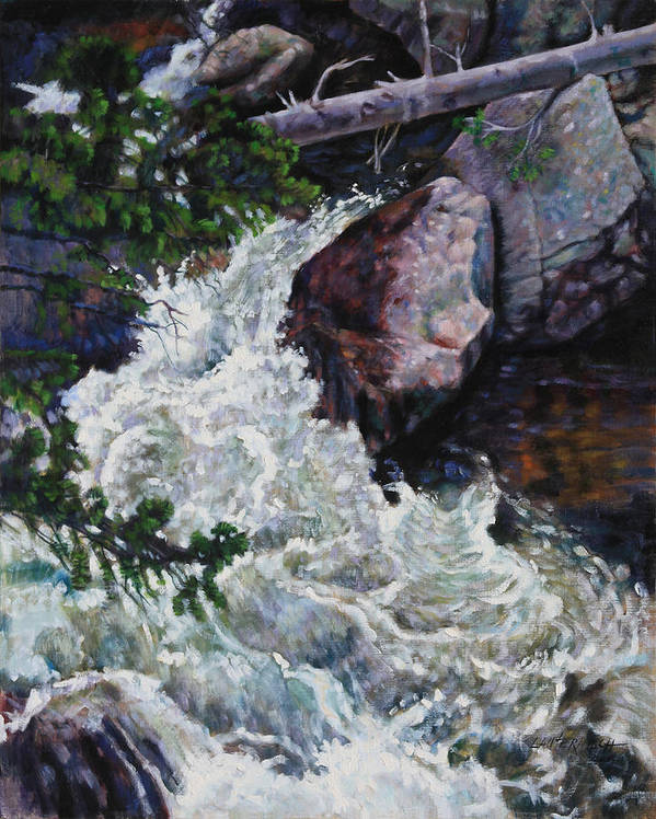 Waterfall Art Print featuring the painting Rushing Stream Colorado by John Lautermilch