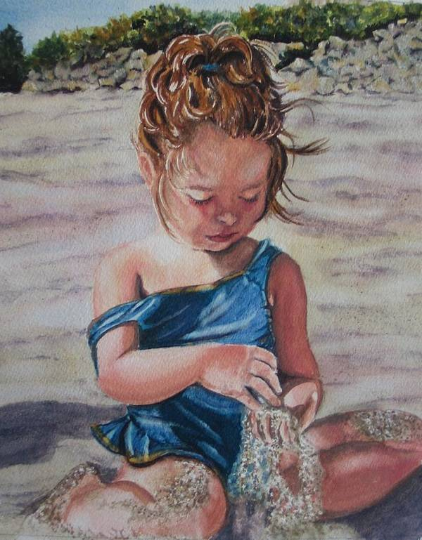 Beach Art Print featuring the painting Sand by Karen Ilari