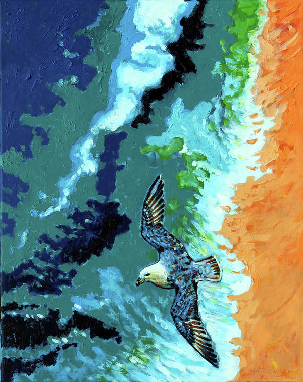 Ocean Art Print featuring the painting Sea Gull Over Ocean by John Lautermilch