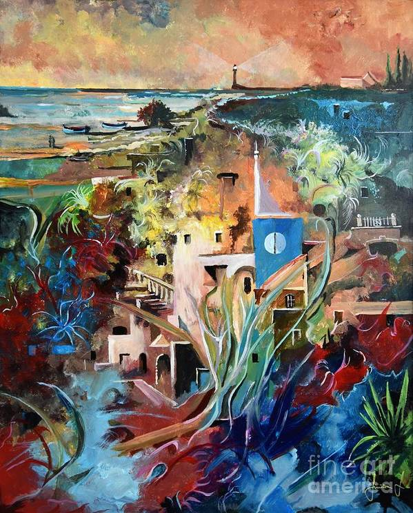 Abstract Art Print featuring the painting Secret Cove by Sinisa Saratlic