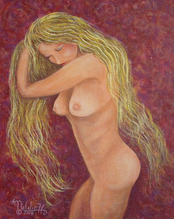 Nude Art Print featuring the painting Seductive Virgin by Natalie Holland